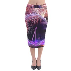 Happy New Year Clock Time Fireworks Pictures Velvet Midi Pencil Skirt