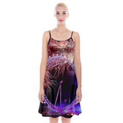 Happy New Year Clock Time Fireworks Pictures Spaghetti Strap Velvet Dress