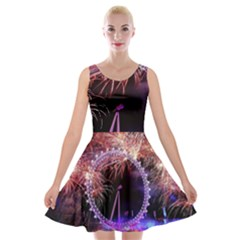 Happy New Year Clock Time Fireworks Pictures Velvet Skater Dress