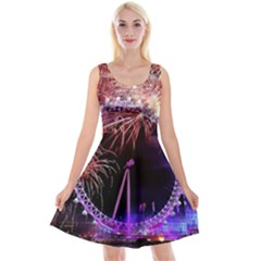 Happy New Year Clock Time Fireworks Pictures Reversible Velvet Sleeveless Dress
