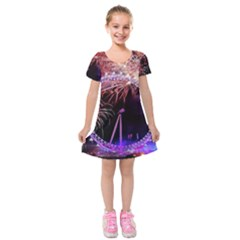 Happy New Year Clock Time Fireworks Pictures Kids  Short Sleeve Velvet Dress