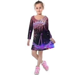 Happy New Year Clock Time Fireworks Pictures Kids  Long Sleeve Velvet Dress