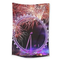 Happy New Year Clock Time Fireworks Pictures Large Tapestry