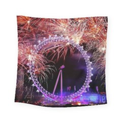 Happy New Year Clock Time Fireworks Pictures Square Tapestry (small)