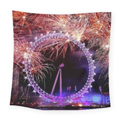 Happy New Year Clock Time Fireworks Pictures Square Tapestry (Large)