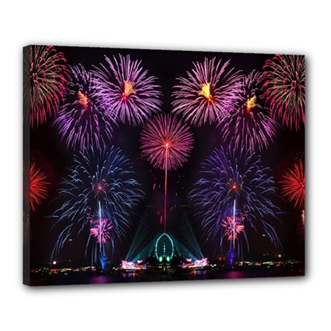 Happy New Year New Years Eve Fireworks In Australia Canvas 20  X 16