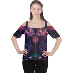 Happy New Year New Years Eve Fireworks In Australia Women s Cutout Shoulder Tee