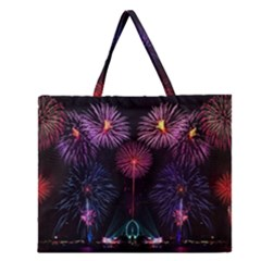 Happy New Year New Years Eve Fireworks In Australia Zipper Large Tote Bag