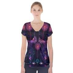 Happy New Year New Years Eve Fireworks In Australia Short Sleeve Front Detail Top