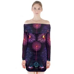 Happy New Year New Years Eve Fireworks In Australia Long Sleeve Off Shoulder Dress