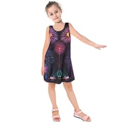 Happy New Year New Years Eve Fireworks In Australia Kids  Sleeveless Dress