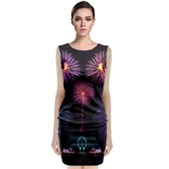 Happy New Year New Years Eve Fireworks In Australia Sleeveless Velvet Midi Dress