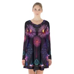 Happy New Year New Years Eve Fireworks In Australia Long Sleeve Velvet V Neck Dress