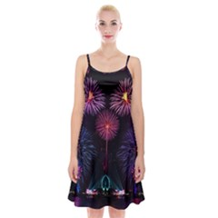 Happy New Year New Years Eve Fireworks In Australia Spaghetti Strap Velvet Dress