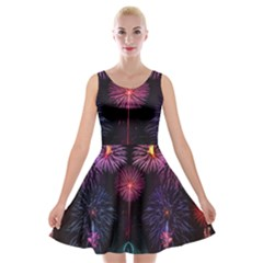Happy New Year New Years Eve Fireworks In Australia Velvet Skater Dress