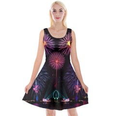 Happy New Year New Years Eve Fireworks In Australia Reversible Velvet Sleeveless Dress