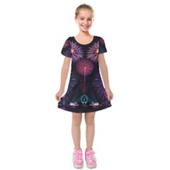 Happy New Year New Years Eve Fireworks In Australia Kids  Short Sleeve Velvet Dress