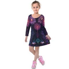 Happy New Year New Years Eve Fireworks In Australia Kids  Long Sleeve Velvet Dress