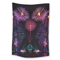 Happy New Year New Years Eve Fireworks In Australia Large Tapestry