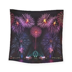 Happy New Year New Years Eve Fireworks In Australia Square Tapestry (Small)