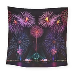 Happy New Year New Years Eve Fireworks In Australia Square Tapestry (large)