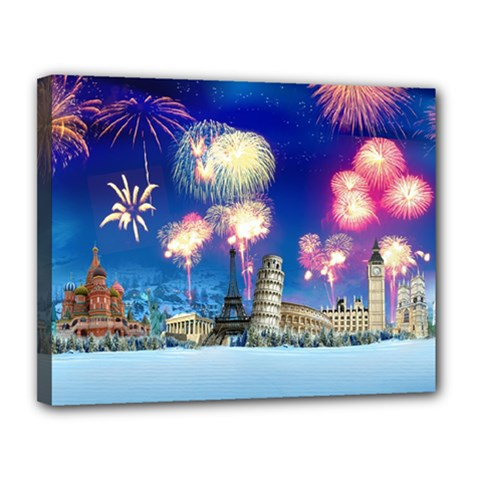 Happy New Year Celebration Of The New Year Landmarks Of The Most Famous Cities Around The World Fire Canvas 14  X 11
