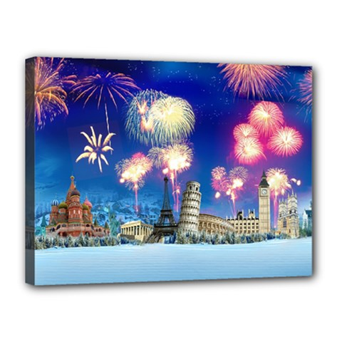 Happy New Year Celebration Of The New Year Landmarks Of The Most Famous Cities Around The World Fire Canvas 16  X 12
