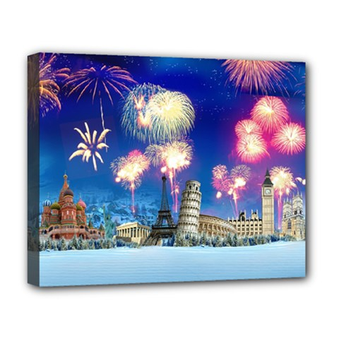 Happy New Year Celebration Of The New Year Landmarks Of The Most Famous Cities Around The World Fire Deluxe Canvas 20  X 16