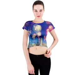 Happy New Year Celebration Of The New Year Landmarks Of The Most Famous Cities Around The World Fire Crew Neck Crop Top