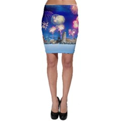 Happy New Year Celebration Of The New Year Landmarks Of The Most Famous Cities Around The World Fire Bodycon Skirt
