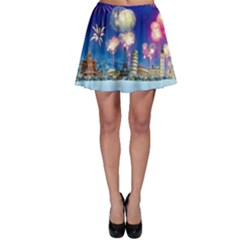 Happy New Year Celebration Of The New Year Landmarks Of The Most Famous Cities Around The World Fire Skater Skirt