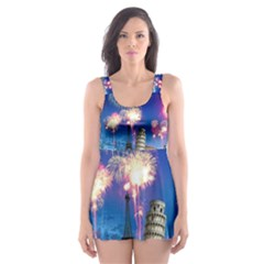 Happy New Year Celebration Of The New Year Landmarks Of The Most Famous Cities Around The World Fire Skater Dress Swimsuit
