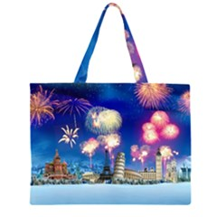 Happy New Year Celebration Of The New Year Landmarks Of The Most Famous Cities Around The World Fire Large Tote Bag