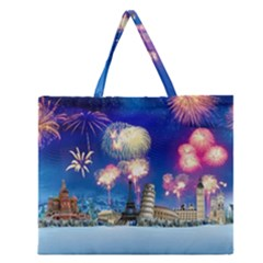 Happy New Year Celebration Of The New Year Landmarks Of The Most Famous Cities Around The World Fire Zipper Large Tote Bag