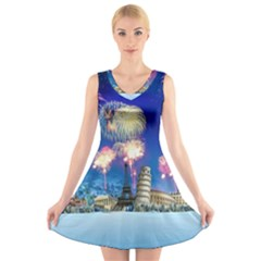 Happy New Year Celebration Of The New Year Landmarks Of The Most Famous Cities Around The World Fire V-Neck Sleeveless Skater Dress