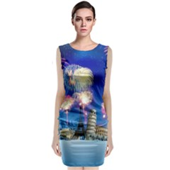 Happy New Year Celebration Of The New Year Landmarks Of The Most Famous Cities Around The World Fire Classic Sleeveless Midi Dress