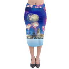 Happy New Year Celebration Of The New Year Landmarks Of The Most Famous Cities Around The World Fire Midi Pencil Skirt