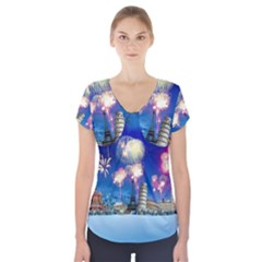 Happy New Year Celebration Of The New Year Landmarks Of The Most Famous Cities Around The World Fire Short Sleeve Front Detail Top