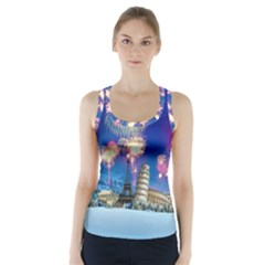 Happy New Year Celebration Of The New Year Landmarks Of The Most Famous Cities Around The World Fire Racer Back Sports Top