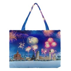 Happy New Year Celebration Of The New Year Landmarks Of The Most Famous Cities Around The World Fire Medium Tote Bag