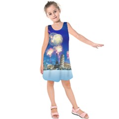 Happy New Year Celebration Of The New Year Landmarks Of The Most Famous Cities Around The World Fire Kids  Sleeveless Dress