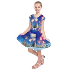 Happy New Year Celebration Of The New Year Landmarks Of The Most Famous Cities Around The World Fire Kids  Short Sleeve Dress