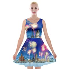 Happy New Year Celebration Of The New Year Landmarks Of The Most Famous Cities Around The World Fire Velvet Skater Dress