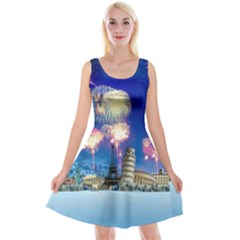 Happy New Year Celebration Of The New Year Landmarks Of The Most Famous Cities Around The World Fire Reversible Velvet Sleeveless Dress