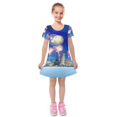 Happy New Year Celebration Of The New Year Landmarks Of The Most Famous Cities Around The World Fire Kids  Short Sleeve Velvet Dress