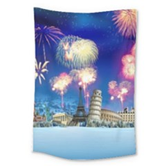 Happy New Year Celebration Of The New Year Landmarks Of The Most Famous Cities Around The World Fire Large Tapestry