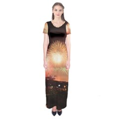 Kuwait Liberation Day National Day Fireworks Short Sleeve Maxi Dress