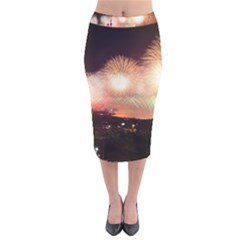 Kuwait Liberation Day National Day Fireworks Velvet Midi Pencil Skirt