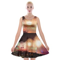 Kuwait Liberation Day National Day Fireworks Velvet Skater Dress