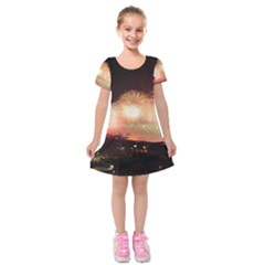 Kuwait Liberation Day National Day Fireworks Kids  Short Sleeve Velvet Dress
